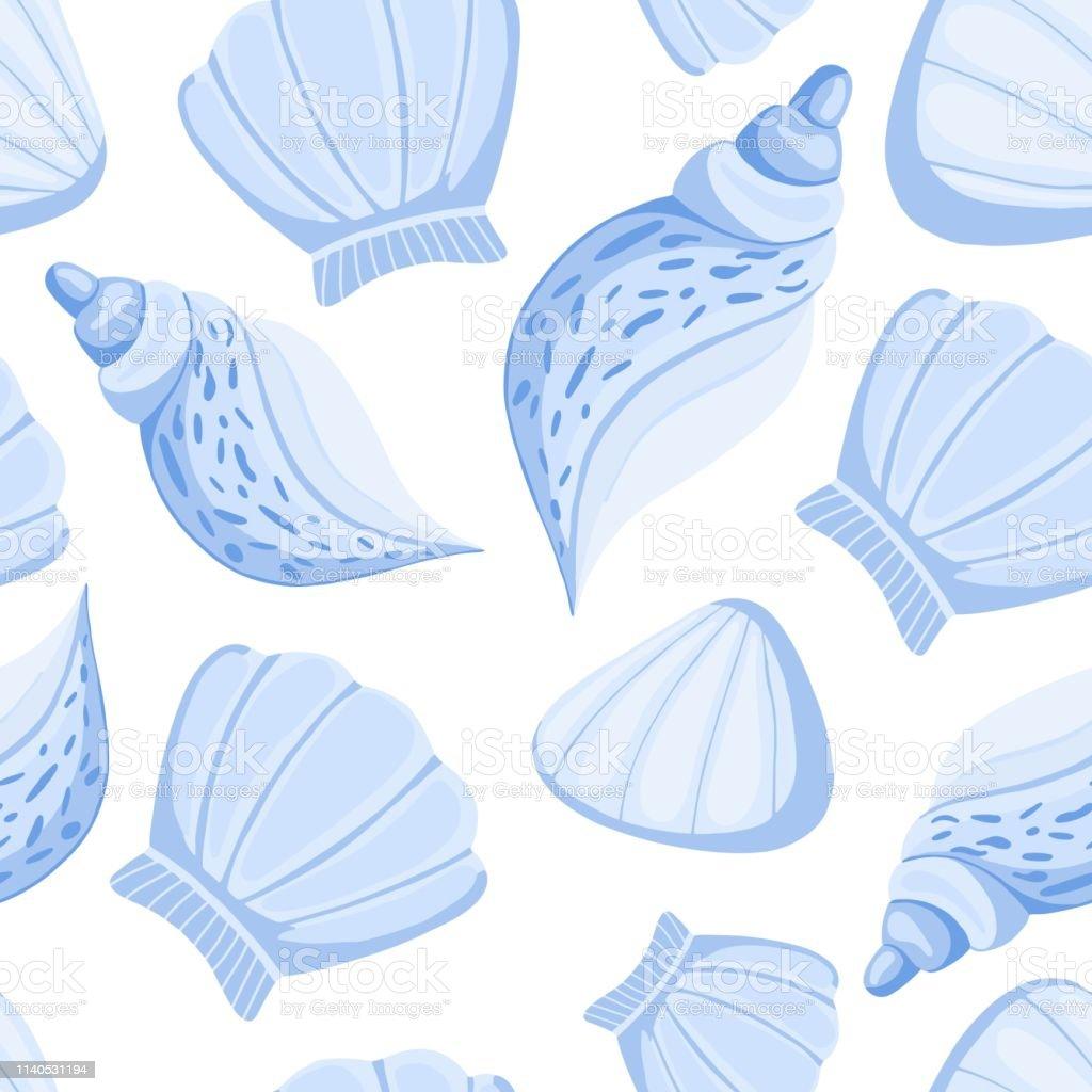 ブルー貝殻ベクターシームレスパターン抽象的な海洋の壁紙 イラストレーションのベクターアート素材や画像を多数ご用意 Istock