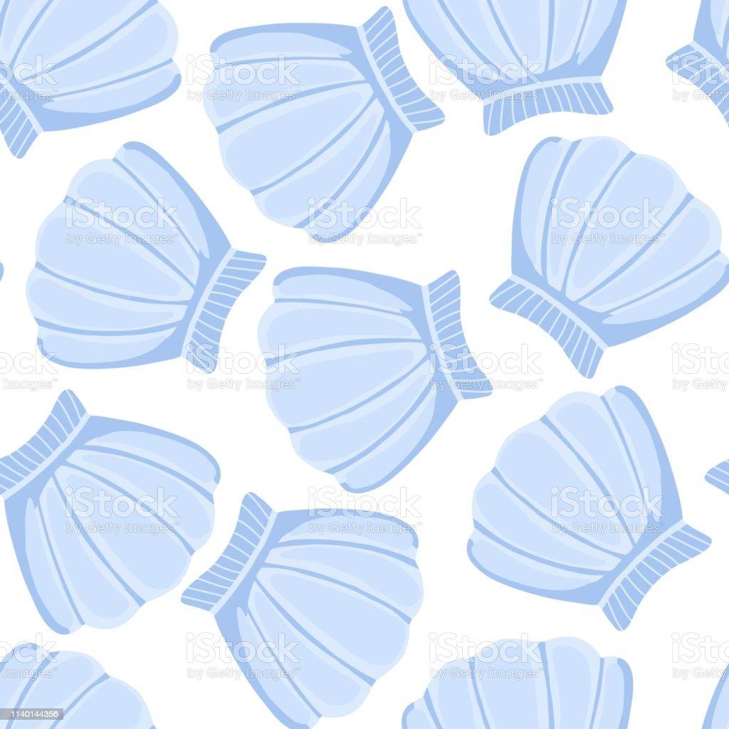 ブルー貝殻ベクターシームレスパターン抽象的な貝の海洋の壁紙 はまぐり料理のベクターアート素材や画像を多数ご用意 Istock