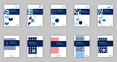 Blue set of 10 A4 Business Book Cover Design Templates. Good for Portfolio, Brochure, Annual Report, Flyer, Magazine, Academic Journal, Website, Poster, Monograph, Corporate Presentation, Vector.