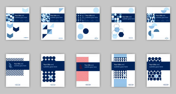 blue set of 10 a4 business book cover design templates. good for portfolio, brochure, annual report, flyer, magazine, academic journal, website, poster, monograph - composition notebook cover stock illustrations, clip art, cartoons, & icons