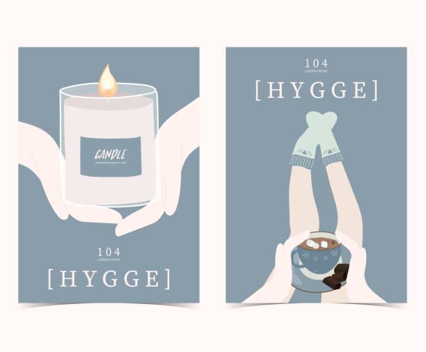 ilustrações de stock, clip art, desenhos animados e ícones de blue set of hygge cards and posters with candle,hand,sock,leg and coffee - hygge