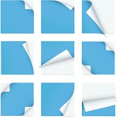 Blue set of note paper with curled corners
