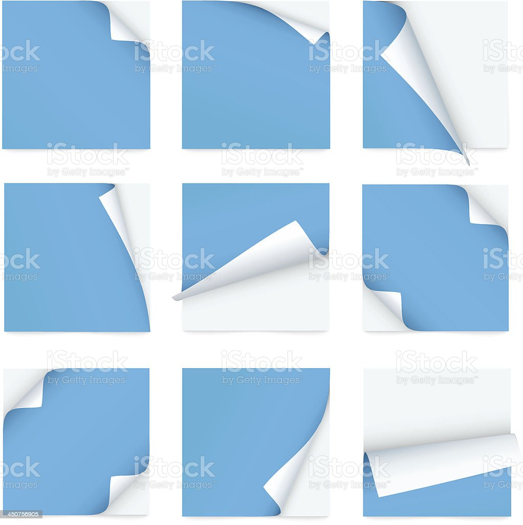 Blue set of note paper with curled corners vector art illustration