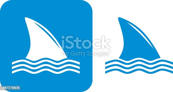 Vector illustration of two shark fin icons.