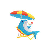 Blue shark summer cartoon character sitting on the beach in a lounge chair with a cool drink in hand, flat vector illustration isolated on white background. Cute sea animal.
