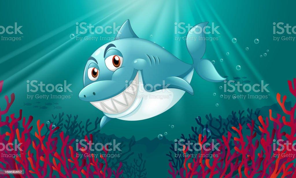blue shark under the sea vector art illustration