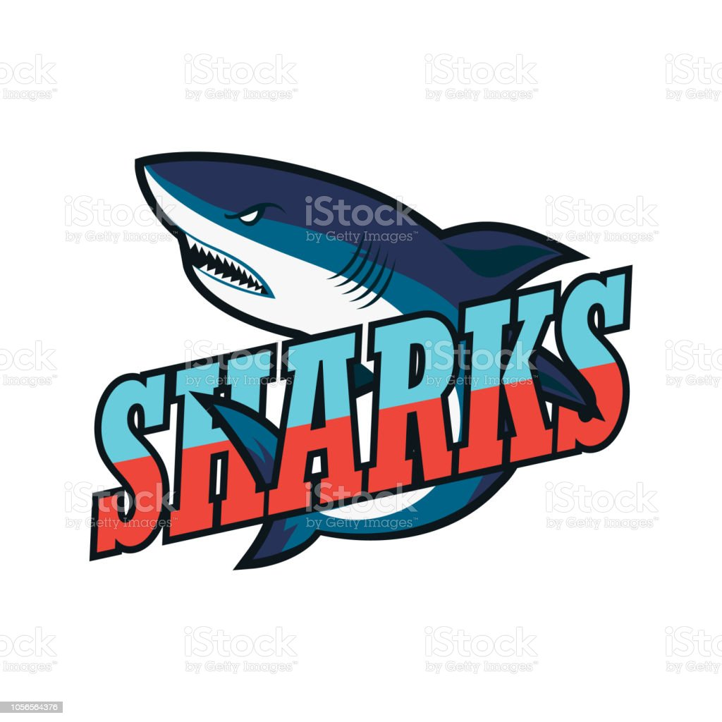 blue sharks logo, vector illustration vector art illustration