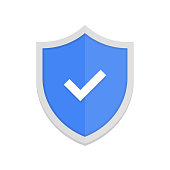 Blue shield and check mark