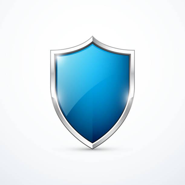 Blue shield icon. Vector illustration Blue shield icon. Vector illustration eps 10. shield stock illustrations
