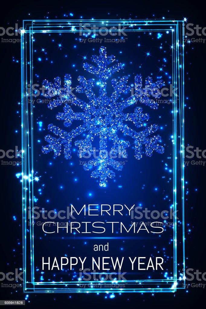 Blau Leuchtende Snoweflaces Mit Rahmen Weihnachten Und Frohes Neues ...