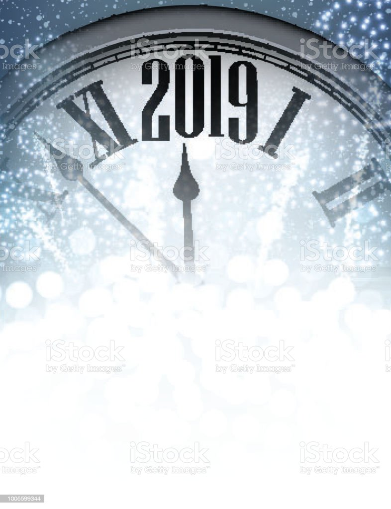 blue shiny 2019 new year background with clock royalty free blue shiny 2019 new