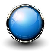 Blue shiny button with metallic elements, vector design for website.