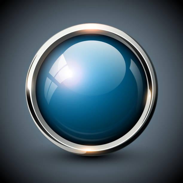 illustrazioni stock, clip art, cartoni animati e icone di tendenza di pulsante lucido blu - sfera lucida