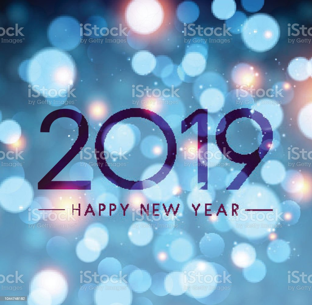 blue shiny happy new year 2019 poster with bokeh background royalty free blue shiny