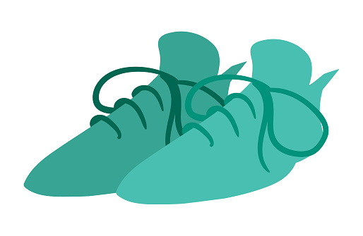 Blue Shoes Vector Isolated on White Background. Children Book Illustration Graphics. Apparel Design Vector Graphics.
