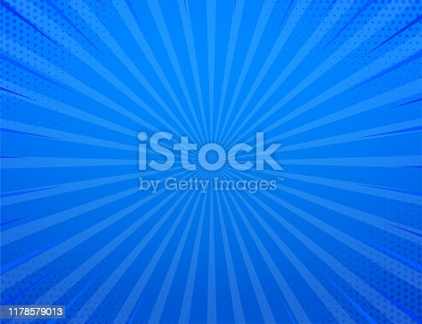 Blue side hatch with halftone effect. Vintage pop art retro vector illustration