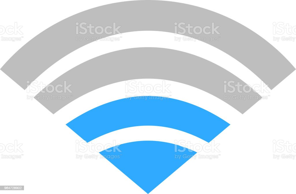 Blue Signal icon of radio wave status 2 vector art illustration