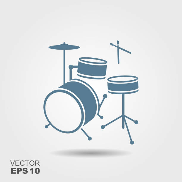 blue silhouette of drum in simple style - talerz perkusyjny stock illustrations