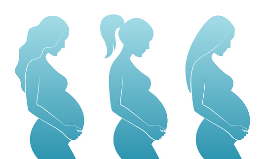 Blue silhouette of pregnant women with different hairstyles: straight hair, curly hair, ponytail.