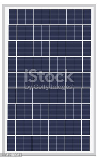 istock Blue silicon photovoltaic electric solar panel texture Detailed vector illustration 1281459031