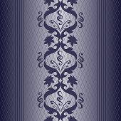 blue with silver vintage seamless pattern. Vector background