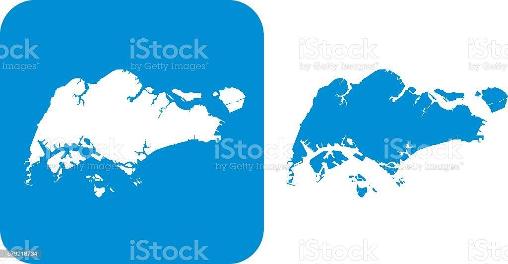 Blue Singapore Icons vector art illustration