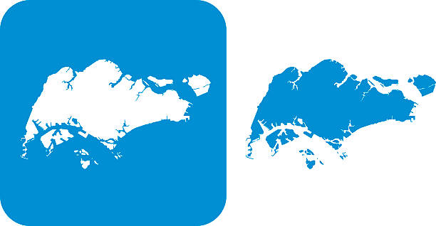 stockillustraties, clipart, cartoons en iconen met blue singapore icons - singapore