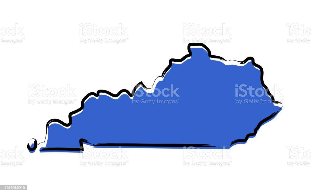 Blue sketch map of Kentucky