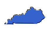Blue sketch map of Kentucky