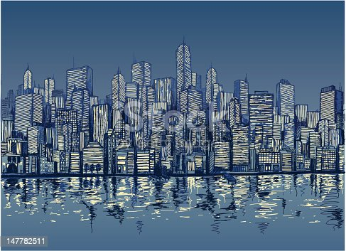 istock Blue sketch of city skyline by water at night 147782511