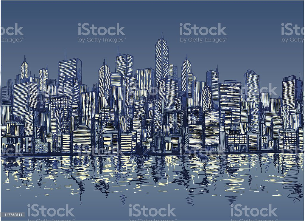 Blue sketch of city skyline by water at night vector art illustration