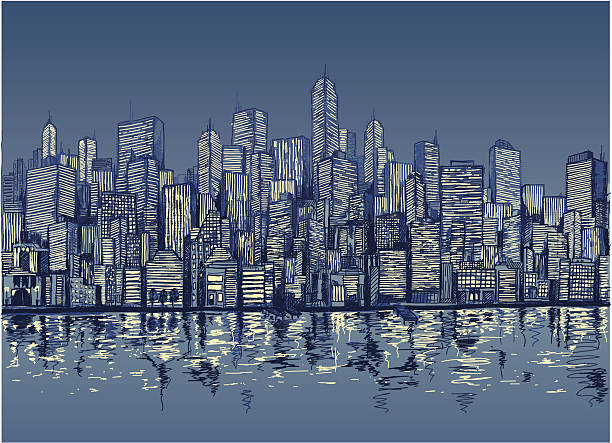 Blue sketch of city skyline by water at night Downtown at night.  waterfront stock illustrations