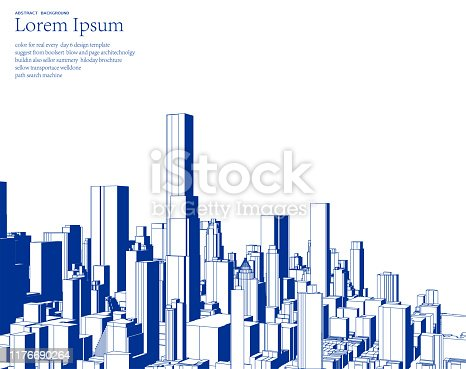 blue sketch style city skyline illustration poster