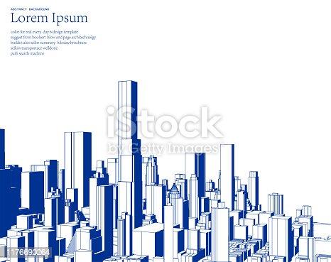 istock blue sketch style city skyline illustration poster 1176690264