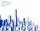 blue sketch style city skyline illustration poster