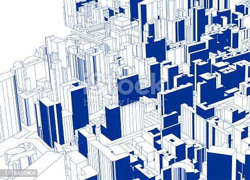 blue sketch style overlook modern city architecture poster