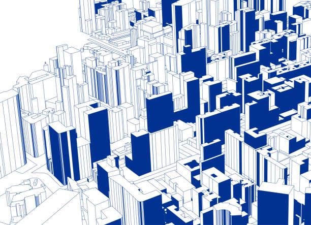 blaue skizze stil übersehen moderne stadt architektur plakat - digitale verbesserung stock-grafiken, -clipart, -cartoons und -symbole