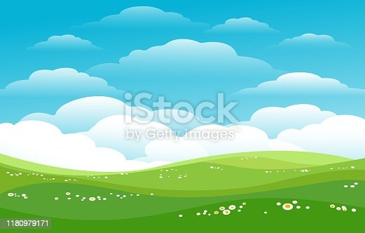 Blue skies green hills horizon. Sunny pastures, lawn fields with skies, daisies and cute clouds vector illustration, cartoon meadow background