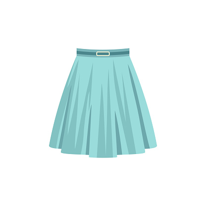 Blue skirt isolated on a white background. Fashion women clothes.