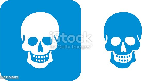 Vector illustration of two blue skull icons.