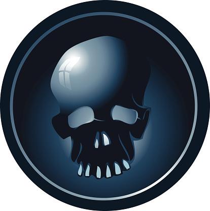 Blue Skull Sign