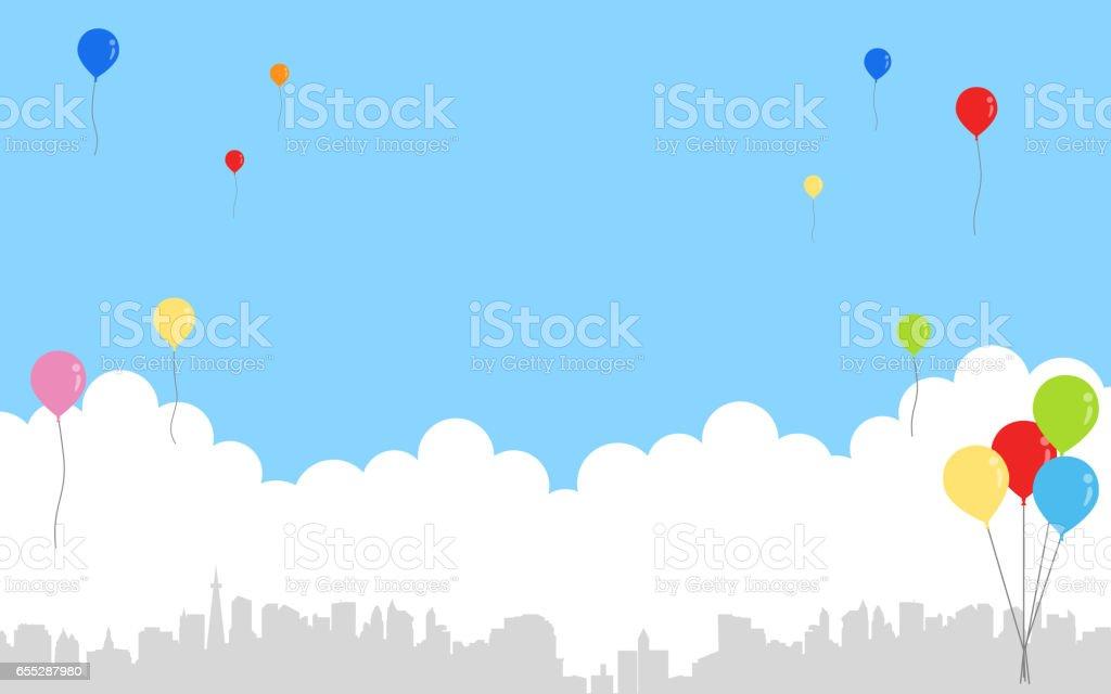 青空と風船と都市の景観 ベクターアートイラスト