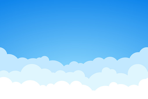 Blue sky and clouds seamless vector background.