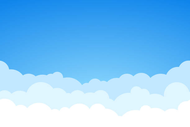 blue sky and clouds seamless vector background. - chmura stock illustrations