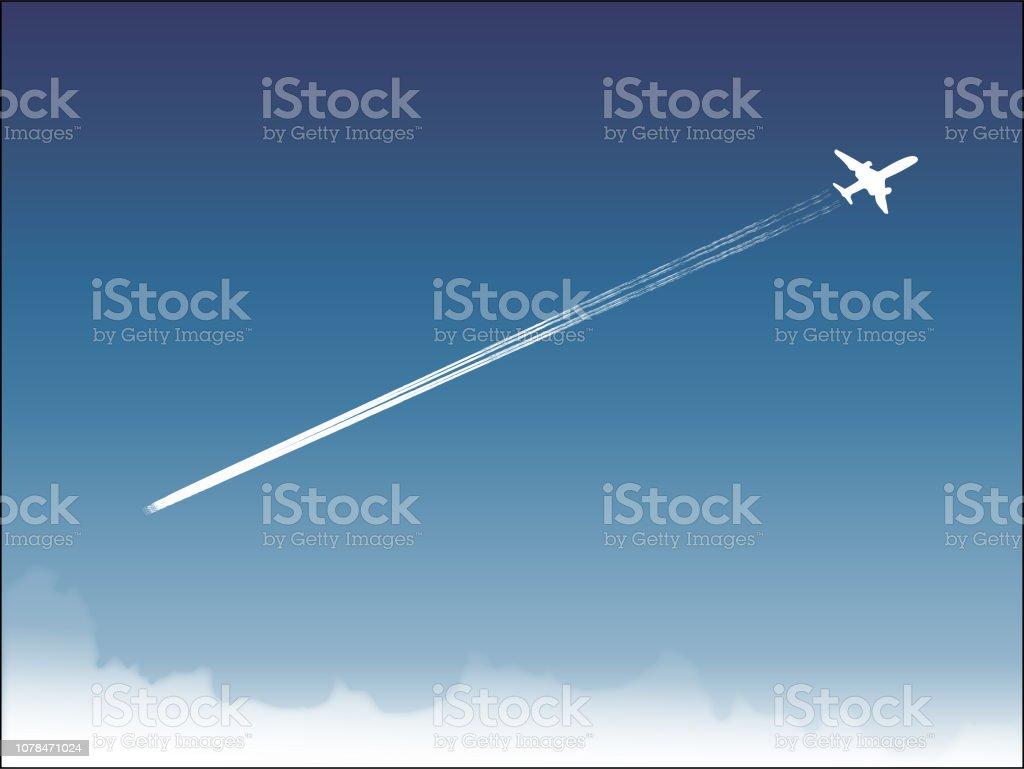 blue sky and flying boeing vector art illustration