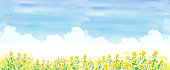 istock Blue sky and rape field, watercolor illustration trace vector 1208532371