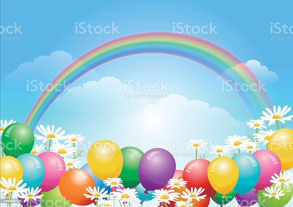 El cielo azul de fondo con globos y flores de Margarita - ilustración de arte vectorial