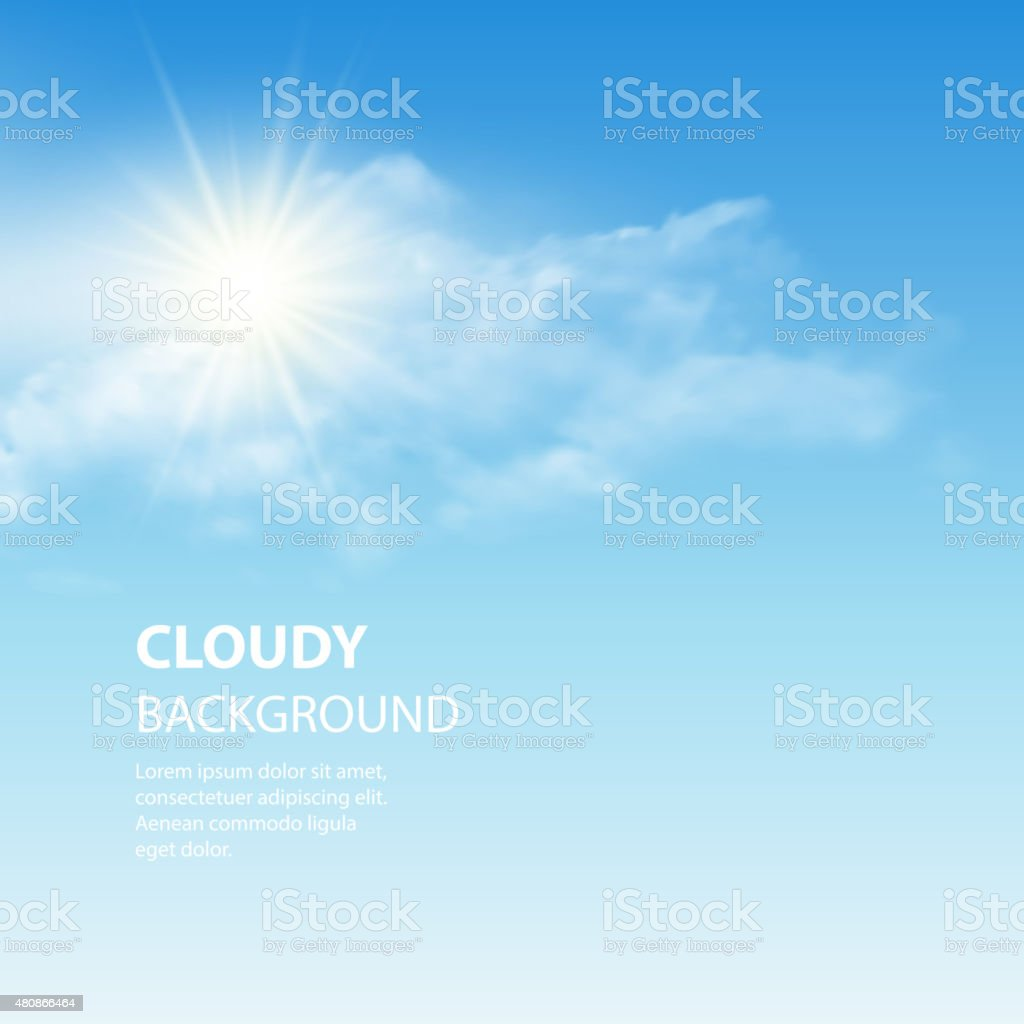 Blue sky background with tiny clouds. Vector illustration vector art illustration