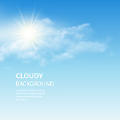 Blue sky background with tiny clouds. Vector illustration