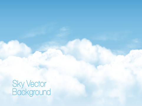 Blue sky background with white  transparent clouds. Vector background. clipart